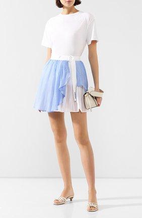 Женская юбка из смеси хлопка и шелка ERMANNO ERMANNO SCERVINO голубого цвета, арт. 46T GN18 RIG   Фото 2