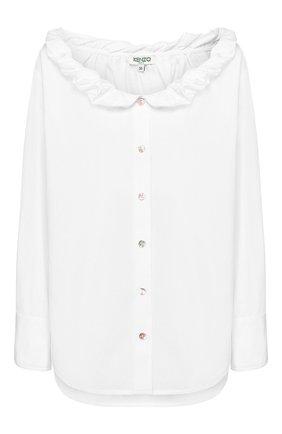 Женская хлопковая рубашка KENZO белого цвета, арт. FA52CH0185AP | Фото 1