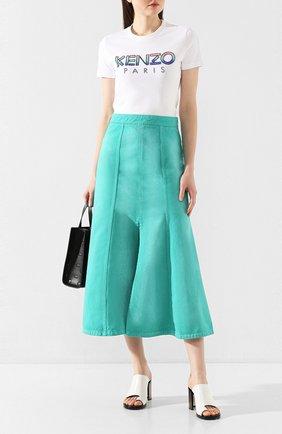 Женская джинсовая юбка KENZO бирюзового цвета, арт. FA52JU2536ES | Фото 2