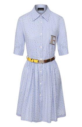 Женское платье с поясом ERMANNO ERMANNO SCERVINO голубого цвета, арт. 46T AB58 RIS   Фото 1