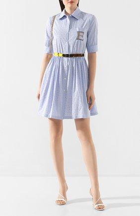 Женское платье с поясом ERMANNO ERMANNO SCERVINO голубого цвета, арт. 46T AB58 RIS   Фото 2