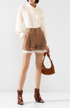 Женские шерстяные шорты CHLOÉ коричневого цвета, арт. CHC20USH11063 | Фото 2