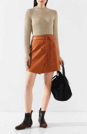 Женская юбка NANUSHKA оранжевого цвета, арт. SEK0YA_BURNT 0RANGE_VEGAN LEATHER | Фото 2