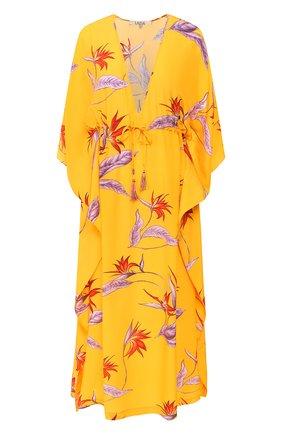 Женское шелковая туника LAZUL желтого цвета, арт. DEA KAFTAN/VINTAGE FL0WER   Фото 1