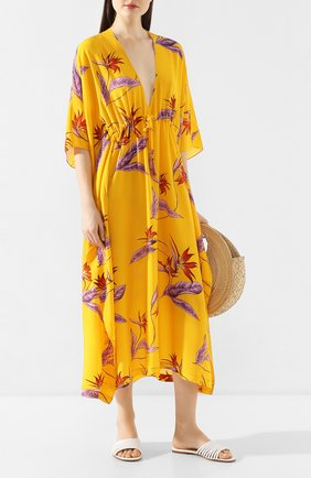 Женское шелковая туника LAZUL желтого цвета, арт. DEA KAFTAN/VINTAGE FL0WER   Фото 2