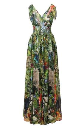 Женское шелковое платье DOLCE & GABBANA зеленого цвета, арт. F6J1PT/FI1U0 | Фото 1