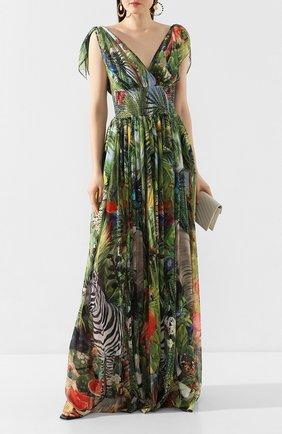 Женское шелковое платье DOLCE & GABBANA зеленого цвета, арт. F6J1PT/FI1U0 | Фото 2