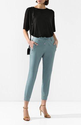 Женские кожаные джоггеры TOM FORD голубого цвета, арт. PAL698-LEX251 | Фото 2