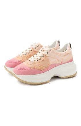 Женские текстильные кроссовки HOGAN розового цвета, арт. HXW4350BP22YJ3 | Фото 1