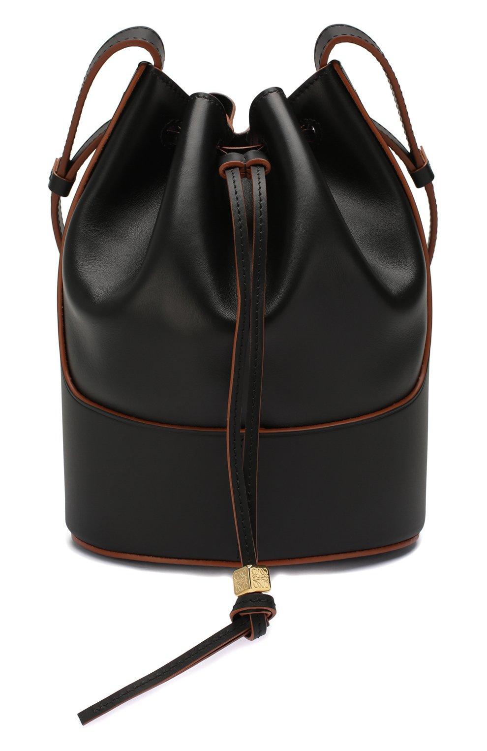 Женская сумка balloon small LOEWE черного цвета, арт. 326.75AC31   Фото 1 (Сумки-технические: Сумки через плечо; Материал: Натуральная кожа; Ремень/цепочка: На ремешке; Размер: small)