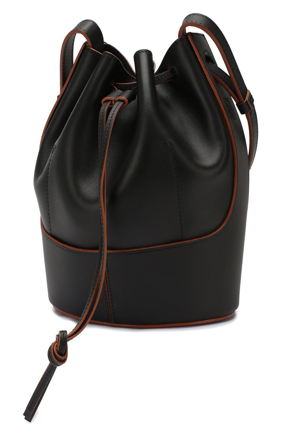 Женская сумка balloon small LOEWE черного цвета, арт. 326.75AC31   Фото 3 (Сумки-технические: Сумки через плечо; Материал: Натуральная кожа; Ремень/цепочка: На ремешке; Размер: small)