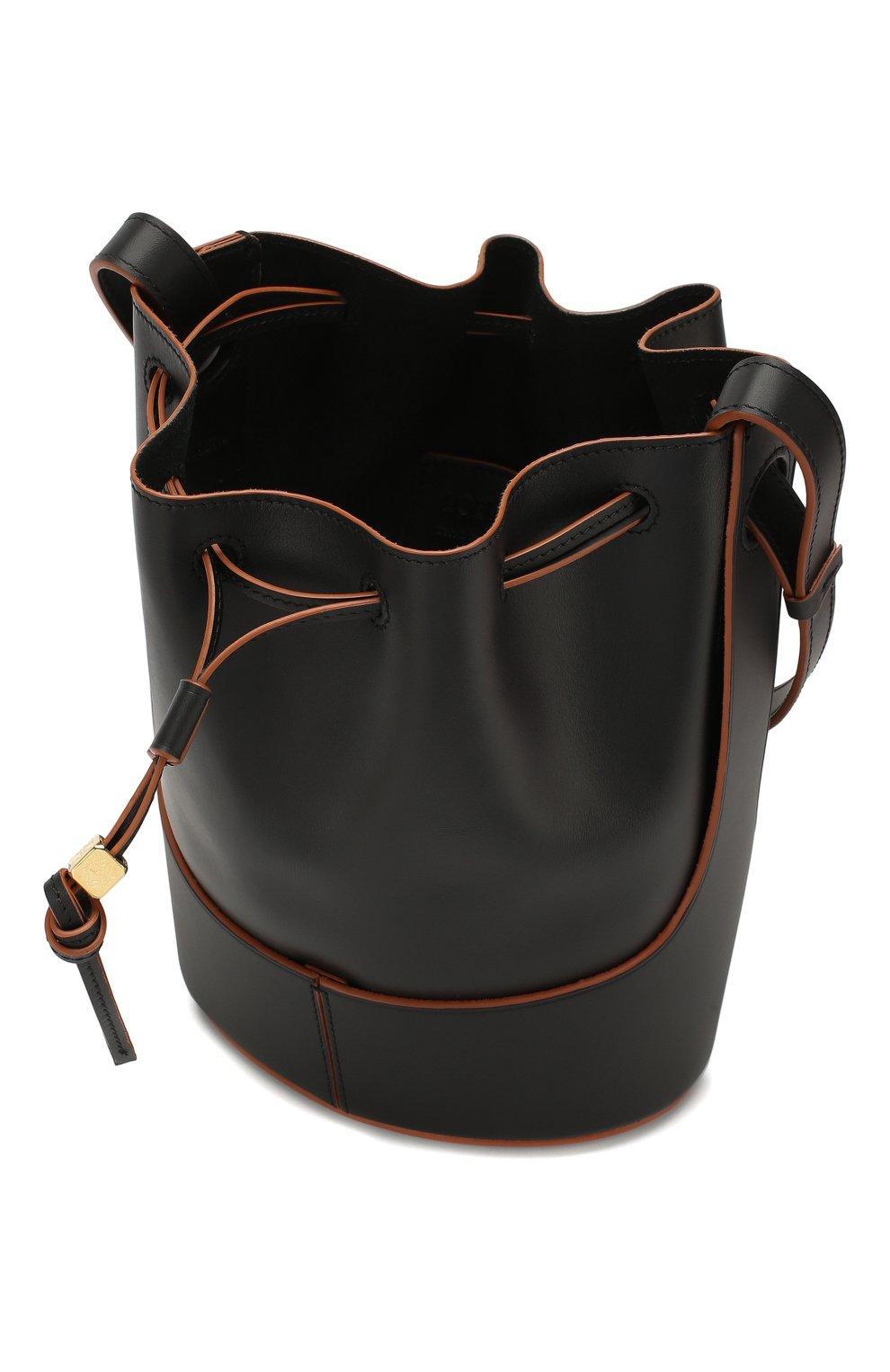Женская сумка balloon small LOEWE черного цвета, арт. 326.75AC31   Фото 4 (Сумки-технические: Сумки через плечо; Материал: Натуральная кожа; Ремень/цепочка: На ремешке; Размер: small)