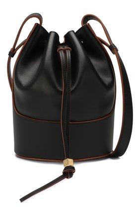 Женская сумка balloon small LOEWE черного цвета, арт. 326.75AC31   Фото 6 (Сумки-технические: Сумки через плечо; Материал: Натуральная кожа; Ремень/цепочка: На ремешке; Размер: small)