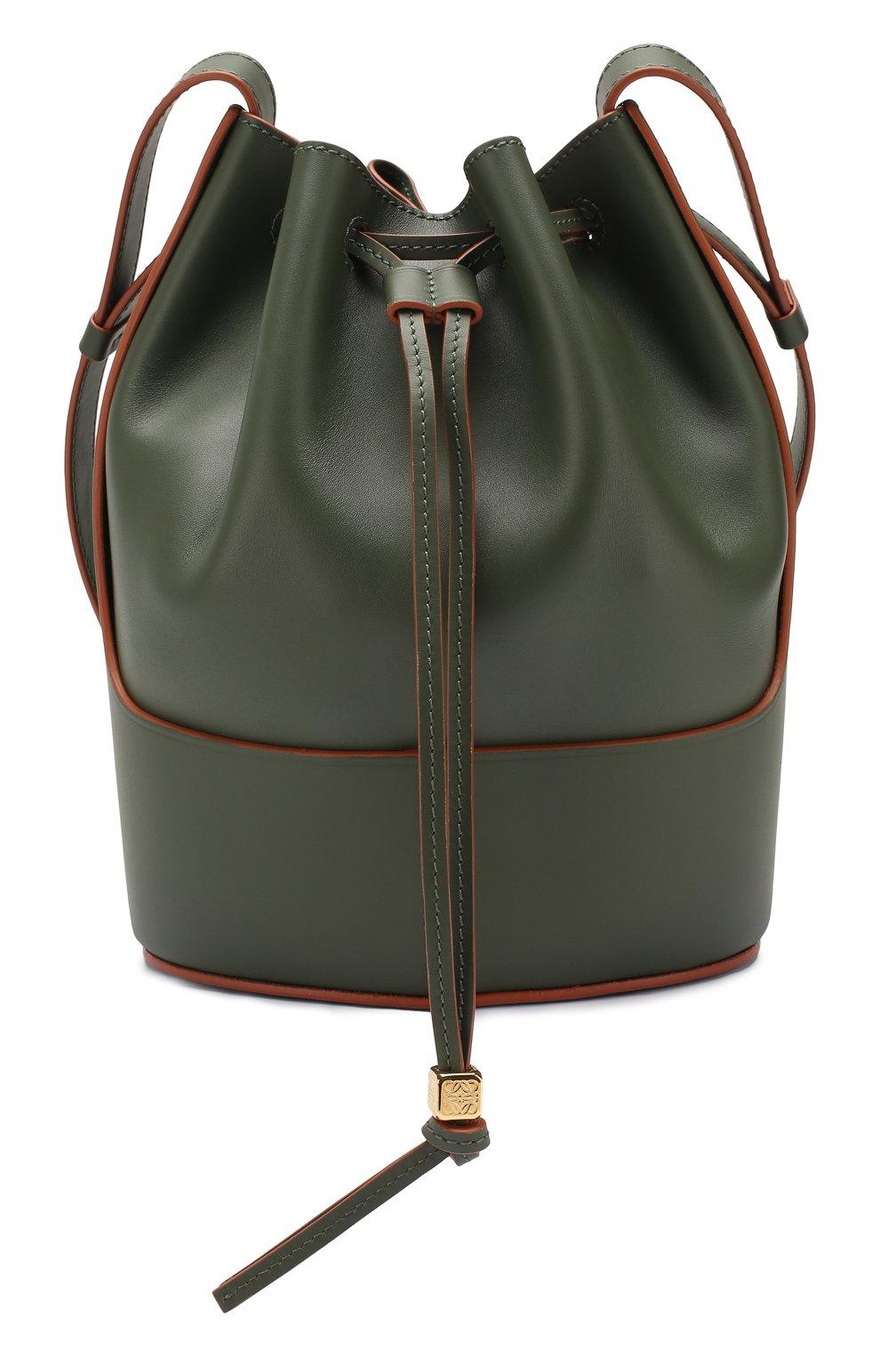 Женская сумка balloon small LOEWE хаки цвета, арт. 326.75AC31 | Фото 1 (Сумки-технические: Сумки через плечо; Материал: Натуральная кожа; Ремень/цепочка: На ремешке; Размер: small)