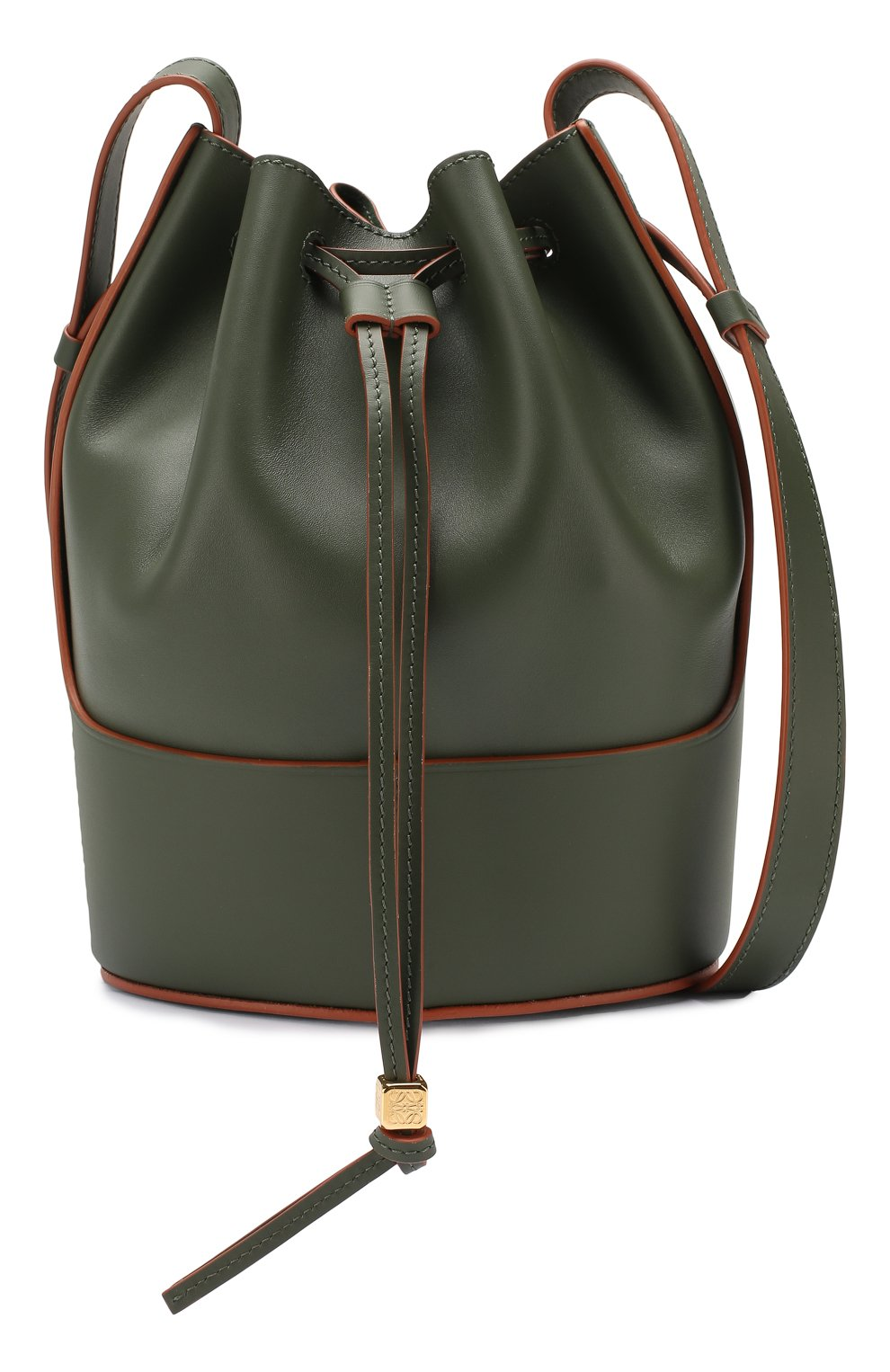 Женская сумка balloon small LOEWE хаки цвета, арт. 326.75AC31 | Фото 5 (Сумки-технические: Сумки через плечо; Материал: Натуральная кожа; Ремень/цепочка: На ремешке; Размер: small)