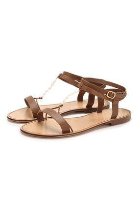 Женские кожаные сандалии SANTONI коричневого цвета, арт. WHRS58541HI1TNC0M40 | Фото 1