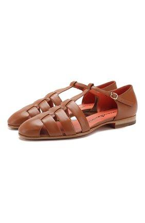 Женские кожаные сандалии SANTONI коричневого цвета, арт. WUSM58748BI3CUNPC80 | Фото 1