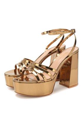 Женские кожаные босоножки angelica GIANVITO ROSSI золотого цвета, арт. G31675.70RIC.METMEK0 | Фото 1