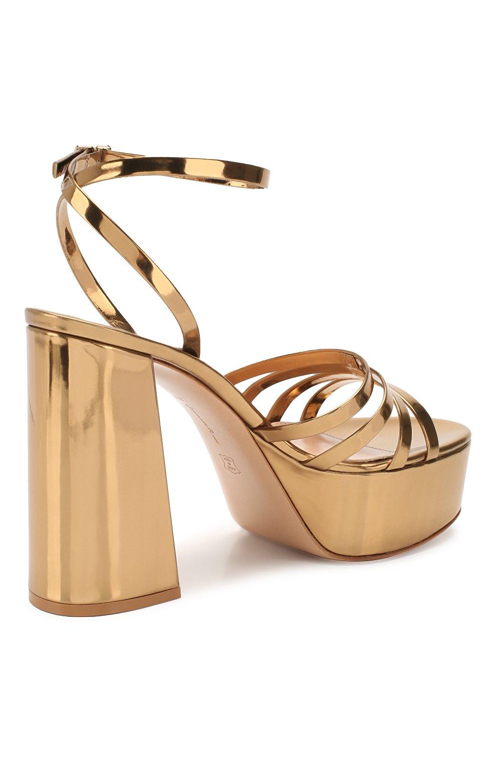 Женские кожаные босоножки angelica GIANVITO ROSSI золотого цвета, арт. G31675.70RIC.METMEK0 | Фото 4