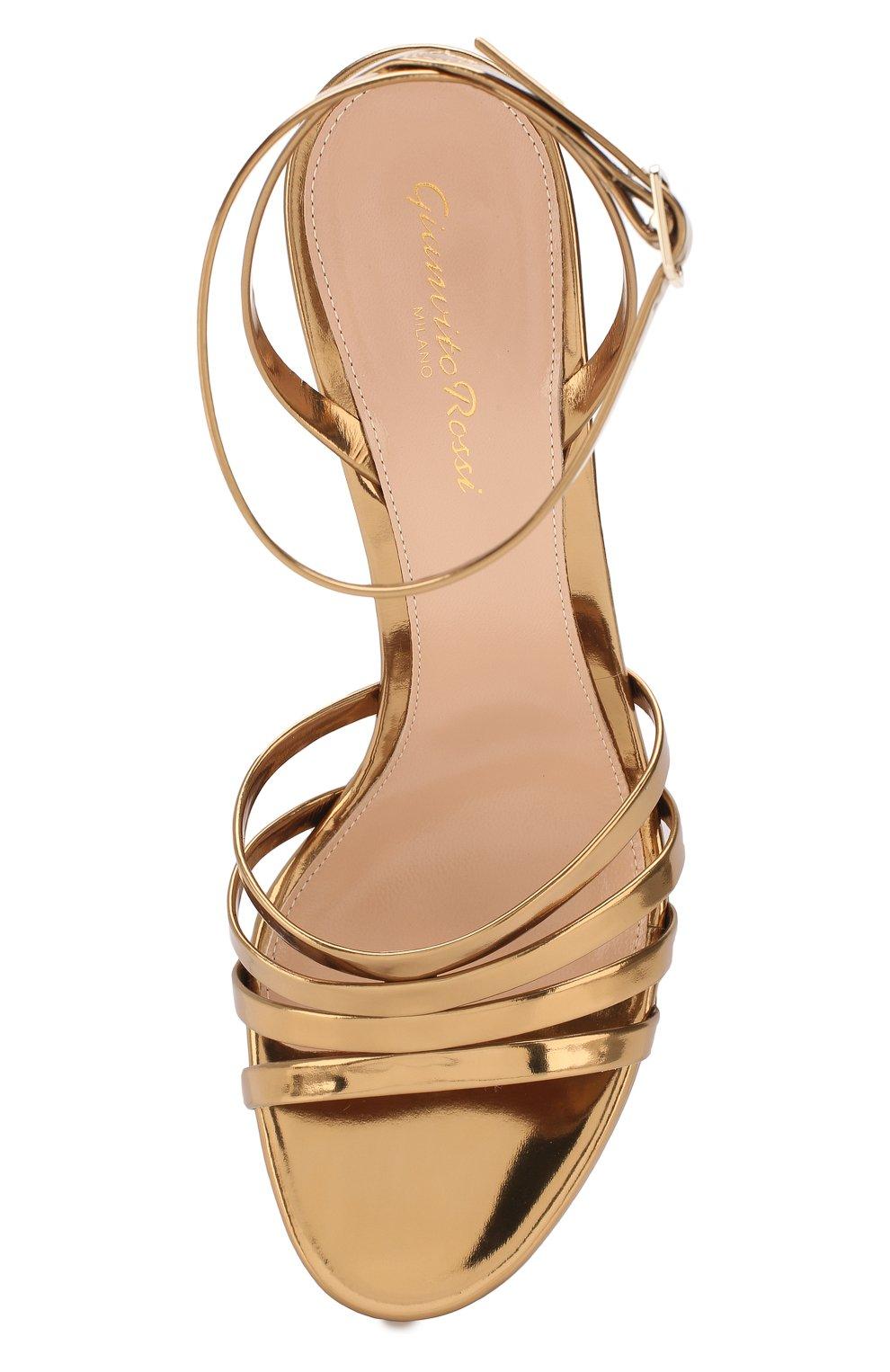 Женские кожаные босоножки angelica GIANVITO ROSSI золотого цвета, арт. G31675.70RIC.METMEK0 | Фото 5