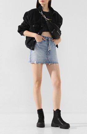Женская джинсовая юбка AGOLDE голубого цвета, арт. A068F-811 | Фото 2