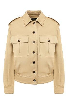 Женская хлопковая куртка DOLCE & GABBANA бежевого цвета, арт. F9I13T/FUFGA | Фото 1