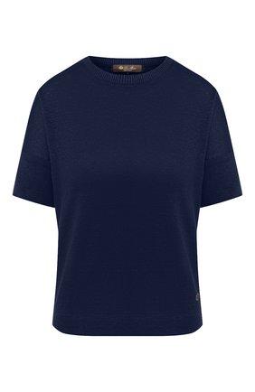 Женская льняная футболка LORO PIANA темно-синего цвета, арт. FAI5936 | Фото 1