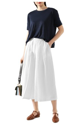 Женская льняная футболка LORO PIANA темно-синего цвета, арт. FAI5936 | Фото 2