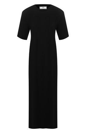 Женское платье из смеси хлопка и вискозы AMI черного цвета, арт. E20FJ620.712 | Фото 1