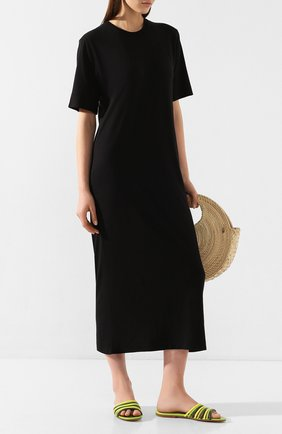 Женское платье из смеси хлопка и вискозы AMI черного цвета, арт. E20FJ620.712 | Фото 2