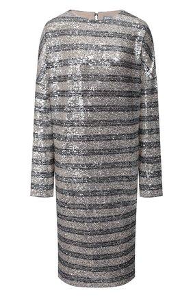 Женское платье с пайетками IN THE MOOD FOR LOVE серебряного цвета, арт. ELISA STRIPED DRESS | Фото 1