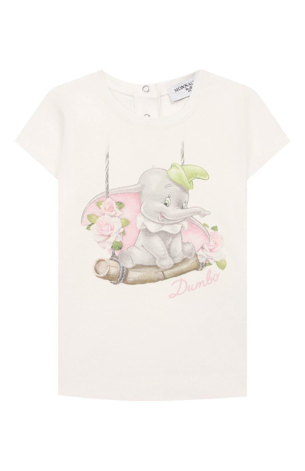 Детский хлопковая футболка MONNALISA белого цвета, арт. 395608SC | Фото 1 (Рукава: Короткие; Материал внешний: Хлопок; Ростовка одежда: 12 мес | 80 см, 18 мес | 86 см, 3 года | 98 см, 24 мес | 92 см)