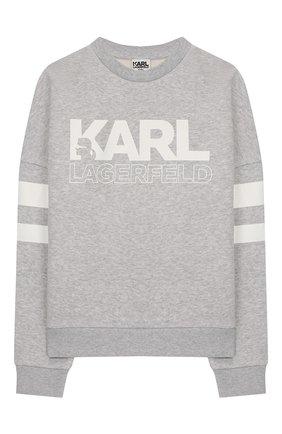 Детский хлопковый свитшот KARL LAGERFELD KIDS серого цвета, арт. Z25237 | Фото 1