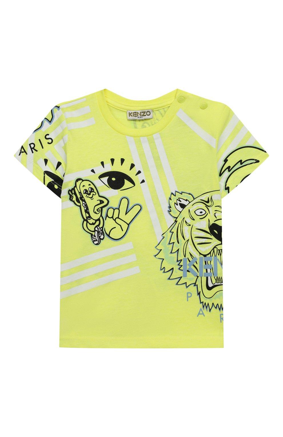 Детский хлопковая футболка KENZO желтого цвета, арт. KQ10537 | Фото 1