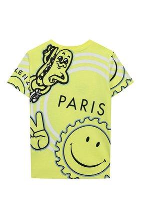 Детский хлопковая футболка KENZO желтого цвета, арт. KQ10537 | Фото 2
