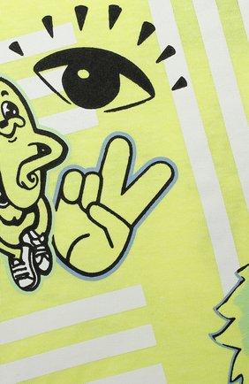 Детский хлопковая футболка KENZO желтого цвета, арт. KQ10537 | Фото 3