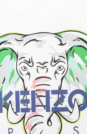 Детский хлопковая футболка KENZO белого цвета, арт. KQ10618-BB   Фото 3 (Рукава: Короткие; Материал внешний: Хлопок)