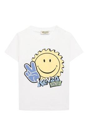 Детский хлопковая футболка KENZO белого цвета, арт. KQ10527 | Фото 1
