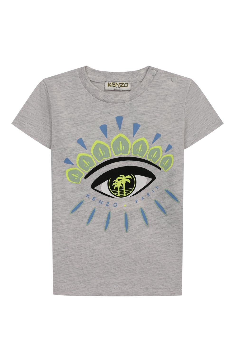 Детский хлопковая футболка KENZO серого цвета, арт. KQ10538-BB   Фото 1