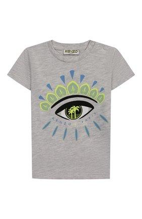 Детский хлопковая футболка KENZO серого цвета, арт. KQ10538-BB | Фото 1