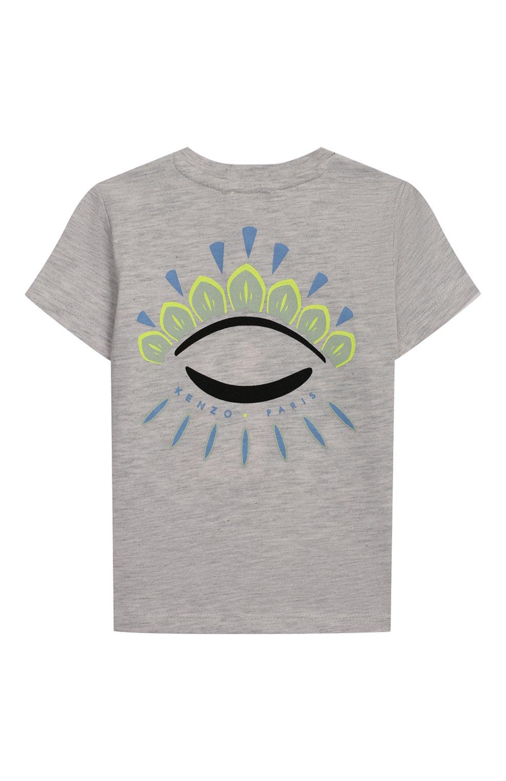 Детский хлопковая футболка KENZO серого цвета, арт. KQ10538-BB   Фото 2
