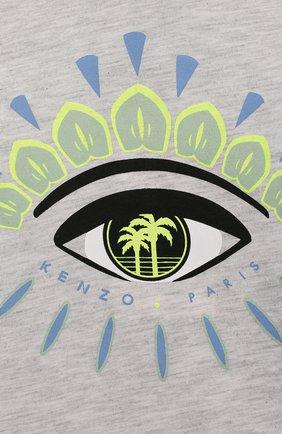 Детский хлопковая футболка KENZO серого цвета, арт. KQ10538-BB   Фото 3