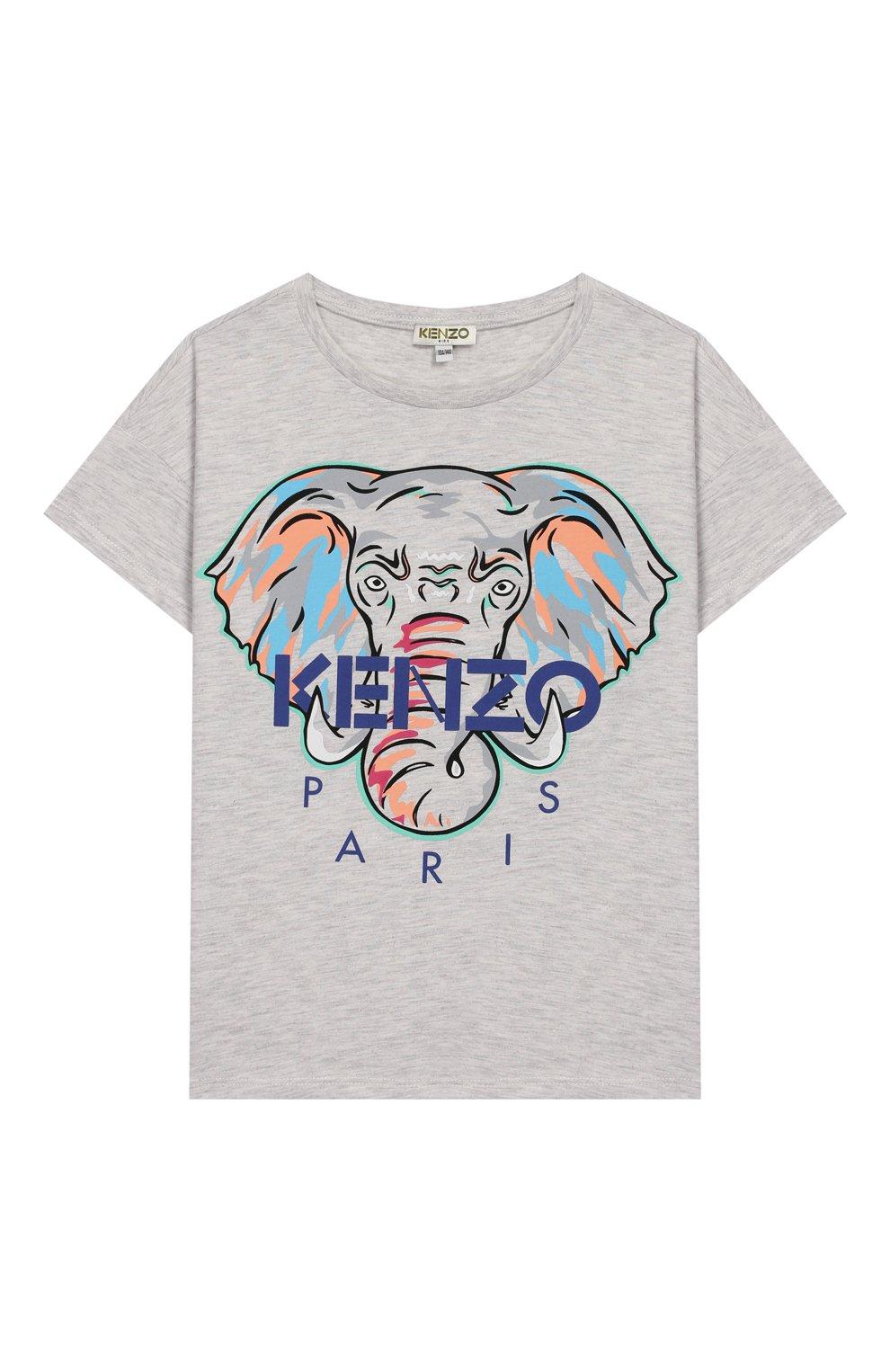 Детская хлопковая футболка KENZO серого цвета, арт. KQ10098   Фото 1