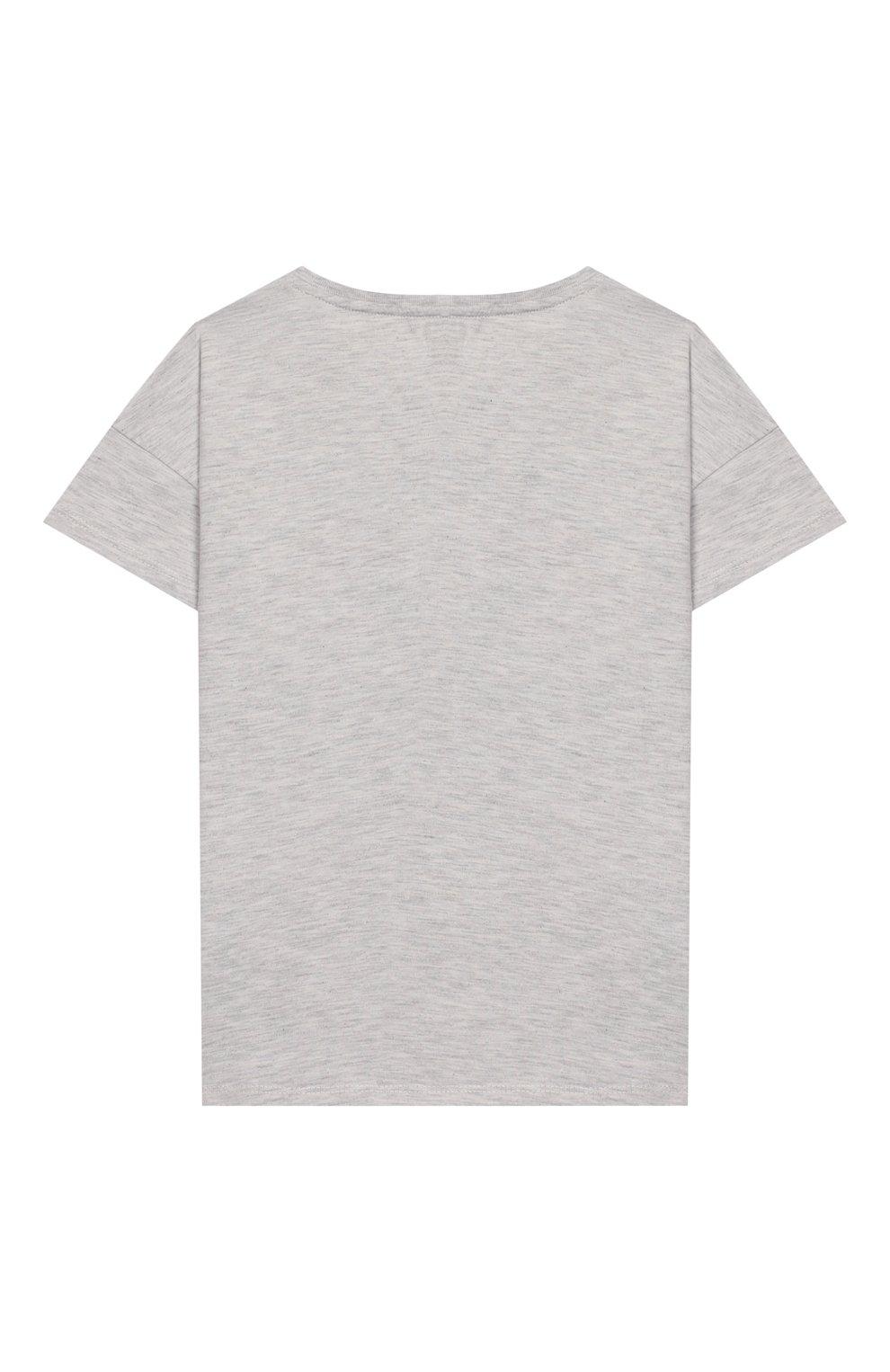Детская хлопковая футболка KENZO серого цвета, арт. KQ10098   Фото 2