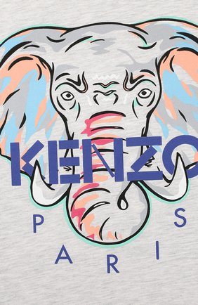 Детская хлопковая футболка KENZO серого цвета, арт. KQ10098   Фото 3