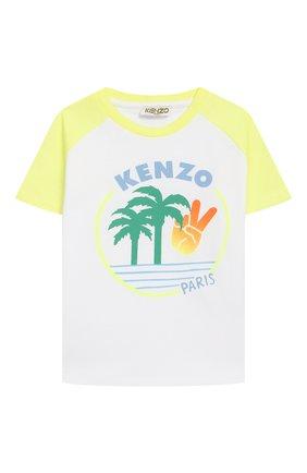 Детская хлопковая футболка KENZO разноцветного цвета, арт. KQ10508 | Фото 1