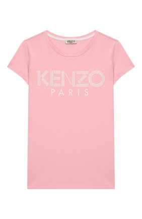 Детская хлопковая футболка KENZO светло-розового цвета, арт. KQ10168 | Фото 1