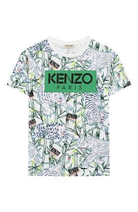 Детская хлопковая футболка KENZO разноцветного цвета, арт. KQ10588 | Фото 1