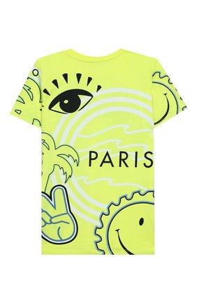 Детская хлопковая футболка KENZO зеленого цвета, арт. KQ10528 | Фото 2