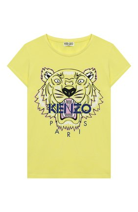 Детская хлопковая футболка KENZO желтого цвета, арт. KQ10198 | Фото 1